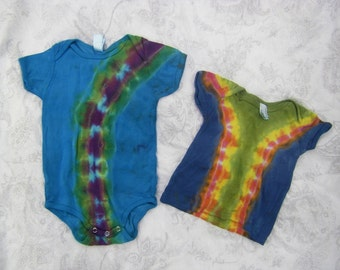 Baby Tie Dye Two Pack of One Onesie (12to18months) and One T-Shirt (6to12months) (American Apparel Organic Cotton) (One of a Kind)