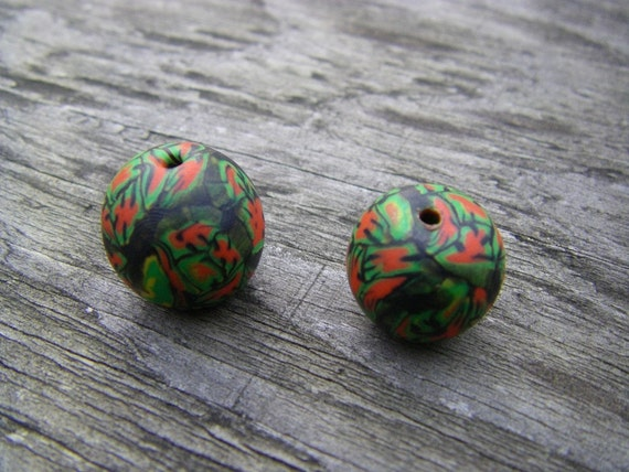 Two Round Rastaman Polymer Clay Beads (One of a Kind)
