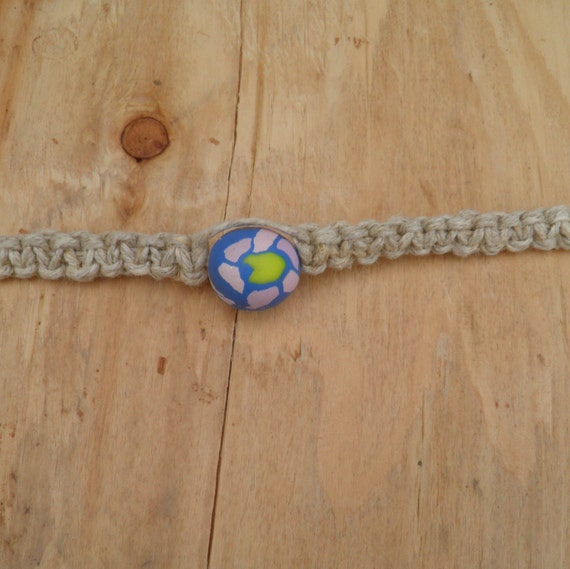 Square Knot Hemp Necklace with Polymer Clay Bead (15 in.) (One of a Kind)