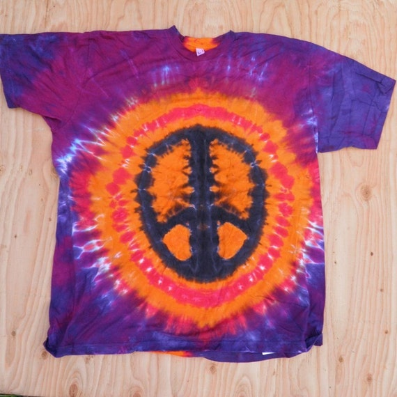 Orange and Purple Peace Sign Tie Dye T-Shirt (Size XL) (American Apparel Organic Cotton) (One of a Kind)