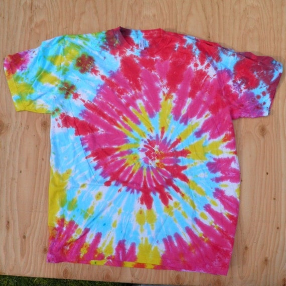 Purple and Blue Spiral Tie Dye T-Shirt (Size XL) (American Apparel Organic Cotton 2001ORG) (One of a Kind)