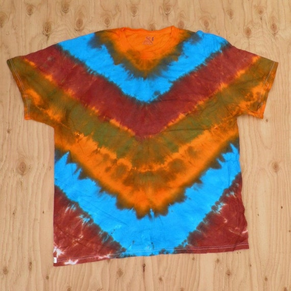 Mother Earth V-Stripe Tie Dye T-Shirt (Fruit of the Loom Size 2XL) (One of a Kind) (On Sale)