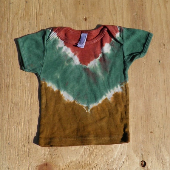 Rust Brown, Forest Green and Bronze Tie Dye Baby T-Shirt (American Apparel Organic Cotton 6-12 Months) (One of a Kind) (On Sale)
