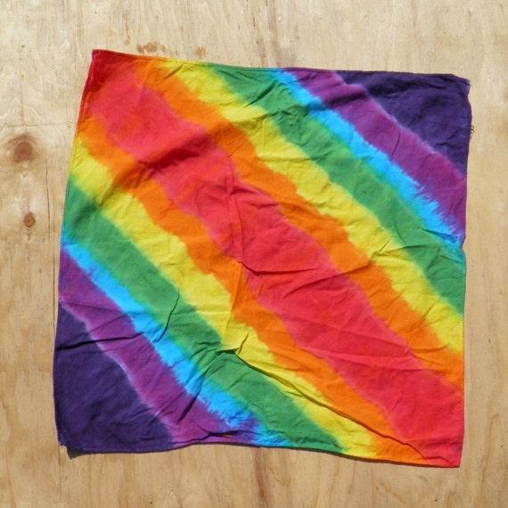 """Rainbow Bandolier Tie Dye Bandanna  (22"""" x 22"""") (One of a Kind)"""