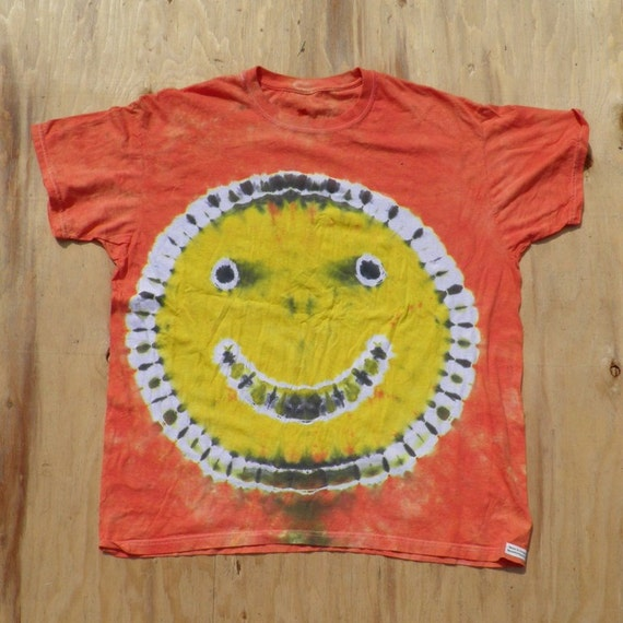 Orange Smiley Face on Blue Tie Dye T-Shirt (Hanes Size 2XL) (One of a Kind)