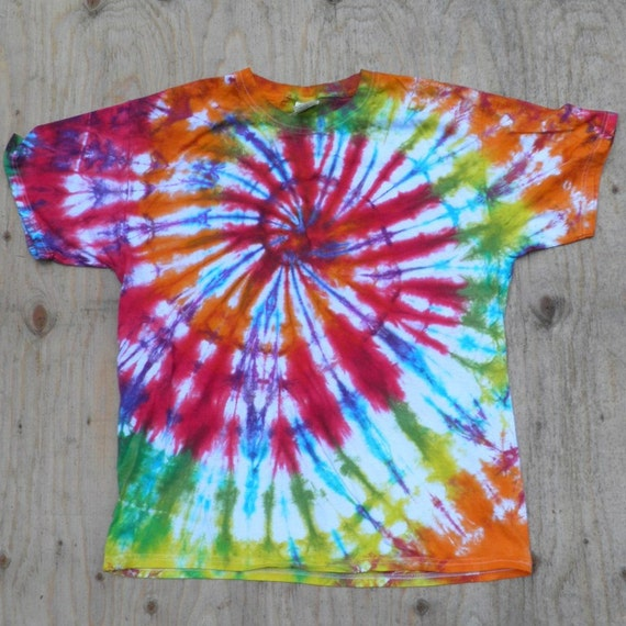 Rainbow Spiral Tie Dye T-Shirt (Fruit of the Loom Size L) (One of a Kind)