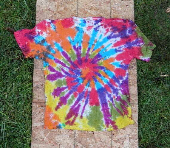 Rocking Rainbow Spiral Tie Dye T-Shirt (Size L) (Hemp Shirt) (One of a Kind)