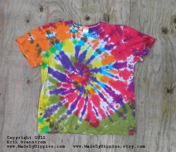 Orange, Red and Purple Spiral Tie Dye T-Shirt (Size Small) (Hemp Shirt) (One of a Kind)