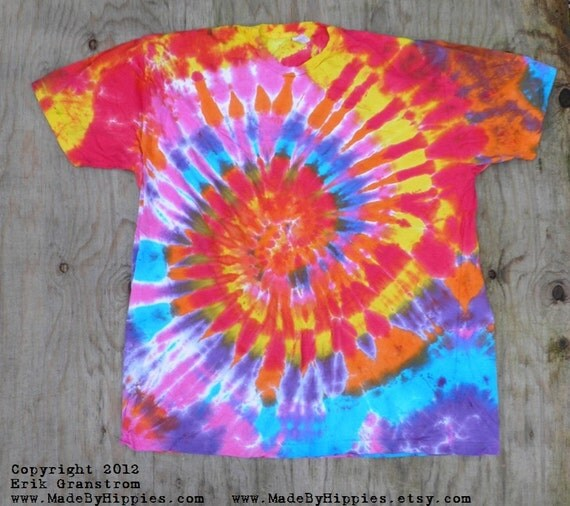 Groovy Multicolor Spiral Tie Dye T-Shirt (Size 3XL) (American Apparel Organic Cotton 2001ORG) (One of a Kind)
