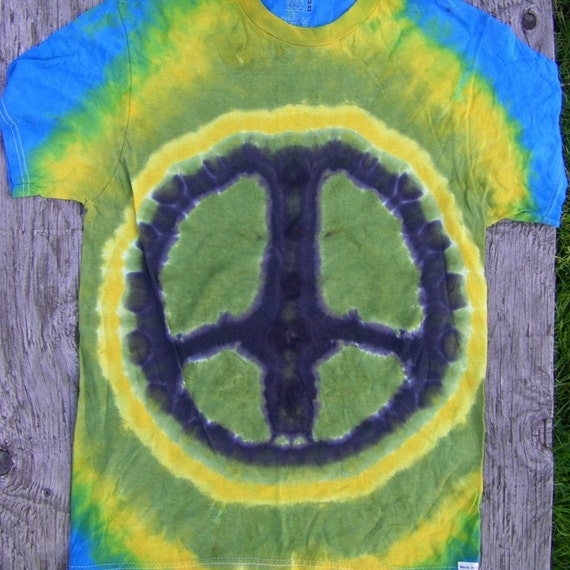 Peace Sign Tie Dye T-Shirt (Size S) (One of a Kind) (On Sale)