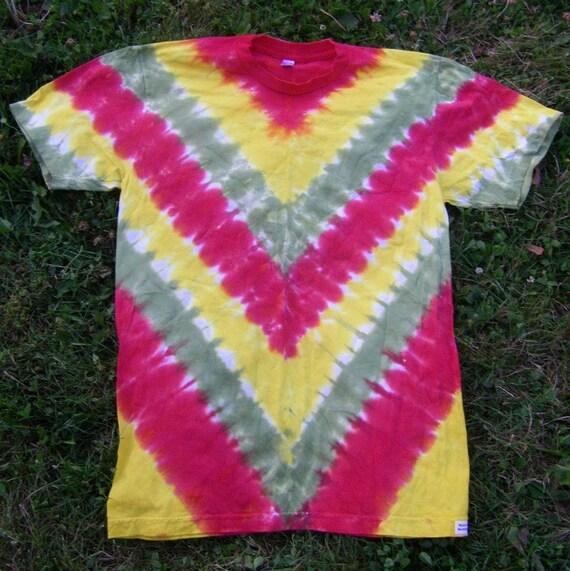 Rasta V Stripe Tie Dye T Shirt Size M American Apparel