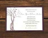 Twisted Tree Wedding Invitation - Nature Purple Frame Affordable Simple Invite