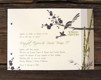Bamboo Art Deco Love Birds Wedding Invitations