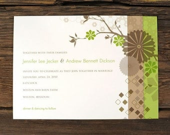 Layered Geometric Nature Wedding Invitations