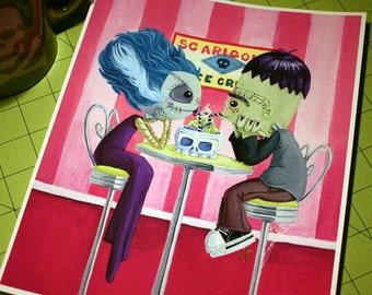 Ice-Scream Social - 8x10 inch Frankenstein's Monster and Bride of Frankenstein on a Date Archival Digital Print