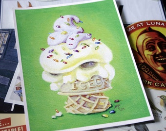 Rainbow Sprinkles - 5 x 7 inch Irate IceCream Cone w/ Rainbow Sprinkles Archival Digital Print - Open Ended Printing