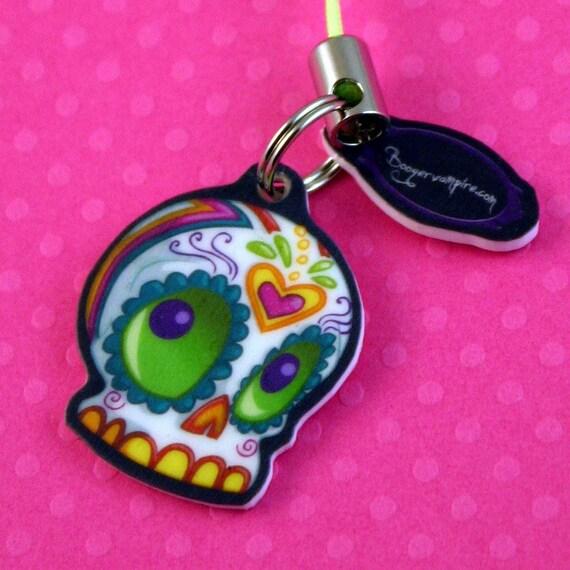 Dia de los Muertos Cute Sugar Skull Cell Phone/ DS Charm w/ Heart