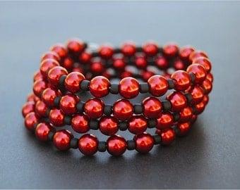 Red & Black Memory Wire Bracelet