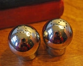 Small Round Chrome Salt and Pepper Shakers