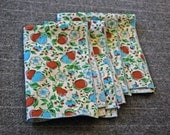 RESERVED FOR ERJ4069 Blue and Brown Pear Napkins Vintage and White Pitcher