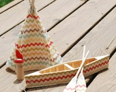 Summer Camp/ Native American Zigzag Playset- canoe, paddles, teepee, camper