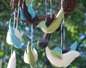 Meadow Bird Mobile- wool, grapevine, organic cotton fill