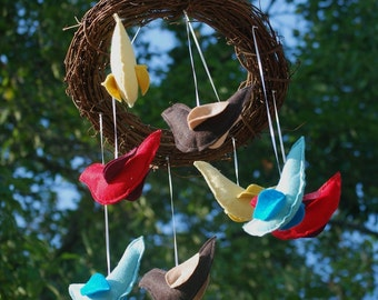 Pure Happiness Bird Mobile-wool, organic cotton, grapevine