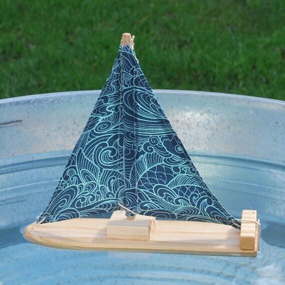 Wave Print Wooden Sailboat