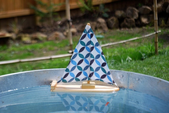 Organic Cotton Circles Wooden Sailboat Featured in Whole Living