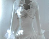Bridal Bolero Wedding Jacket Bridal Shrug Bolero Jacket Bridal Wrap Lace Bolero with Ruffles Long Sleeve Bolero Jacket