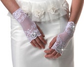 Wedding gloves, Bridal gloves, flowers lace fingerless gloves with rhinestones