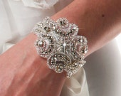 Bridal accessory wedding bracelet with rhinestone applique