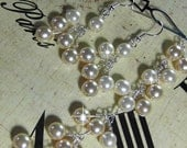 Wedding jewelry - pearl bracelet and earrings