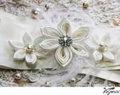 Bridal sash Wedding Sash Bridal Belt Kanzashi Flower Sash Custom Color Bridal Accessories Bridal Flower Sash