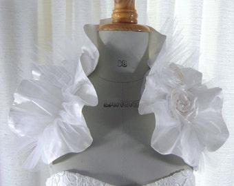 SUMMER SNOW - Bridal bolero with pleated shrug / shoulder wrap / victorian inspired