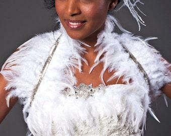 Feather Bridal Bolero Shrug Wedding Shoulder Wrap Wedding Bolero Bridal Stole Feather Bridal Bolero