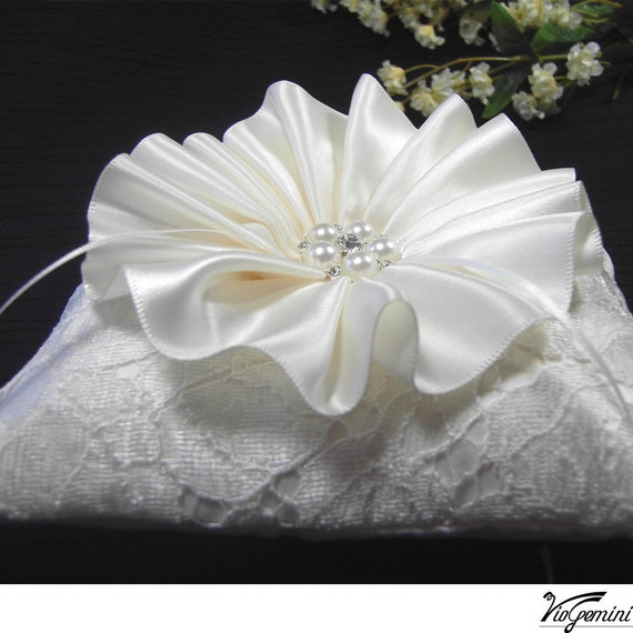 Wedding ring bearer pillow - Ivory Chantilly lace , pleated ribbon flower and rhinestone center.
