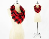 CLEARANCE - vtg 80s indie grunge revival red black BUFFALO check plaid FRINGE slouchy square neck scarf