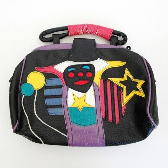 vtg 80s black vegan faux leather CLOWN CIRCUS handbag purse - CLEARANCE