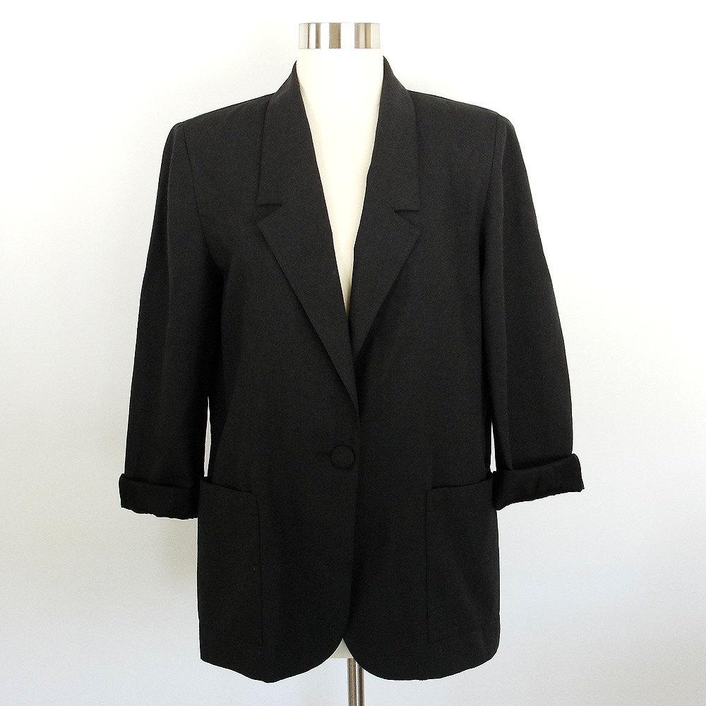 Vtg 80 S Black Oversized Boyfriend Blazer M