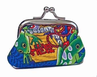 Tiny Kisslock Coin Purse - Kokee Frogs