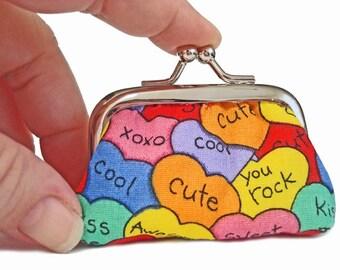 Candy Hearts - Tiny Kisslock Coin Purse