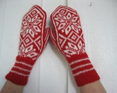 Norwegian handknitted mittens in red and white