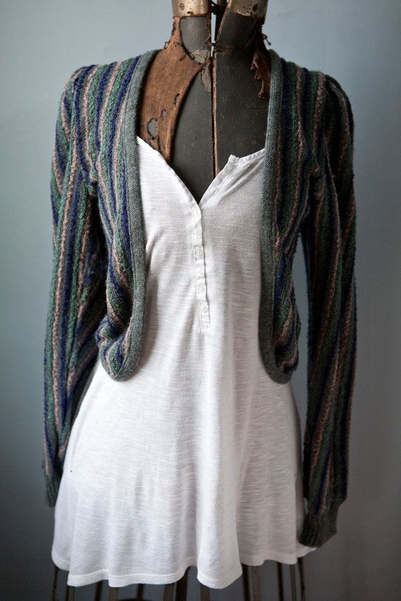 Boho Vintage Puff Sleeve Sweater Shrug Open Cardigan Gray with Stripes Size Small