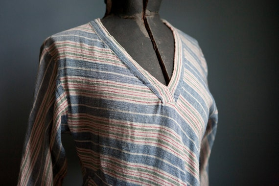 Hippie 60s / 70s Gauzy Tunic Top Blouse Striped Cotton Size Small made in Nepal