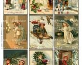 "Digital Scrapbook -  Vintage Children-  Christmas - ATC - 2.5x3.5""-XM6"