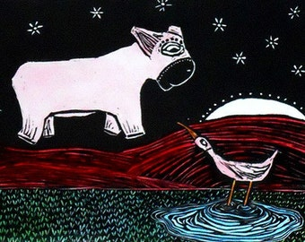 He Floats - a hand-colored linocut print