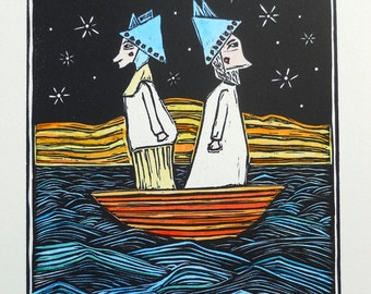Two Plans - hand-colored linocut print