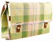 Stash iPad / netbook messenger bag - green and pink tartan