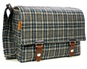 Medium DSLR camera bag with padded insert - gray and green wool plaid